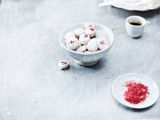 Pfeffernüsse (spiced soft gingerbread from Germany) with red sugar