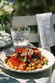 Moroccan chickpea and aubergine salad
