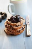 Fig baguette with butter and blackberry jelly