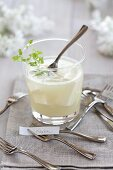 A soy drink with chervil