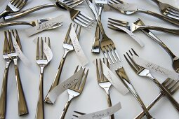 Forks and name tags