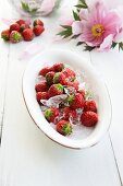 A plate of strawberries and lime ice cubes