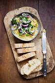 Yellow lentils with red onions