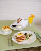 Brunch with Croque Madame, onion soup and beignets