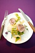 Fillet of veal with herb foam and ribbon pasta