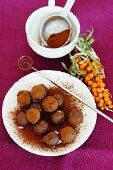 Chocolate truffles with sea buckthorn