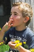 A boy tasting freshly bottled wild honey