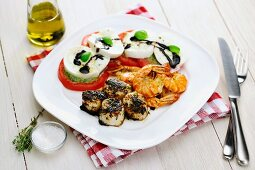 Scallops (with blackening spice) + Prawns with Caprese Salad and Green Pesto