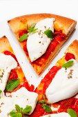 Pizza with buffalo mozzarella, tomatoes and basil, one slice cut