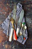 Vintage cutlery on a linen napkin