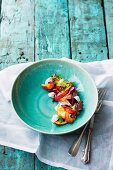 alt-baked nectarine, beetroot and goat's labneh salad