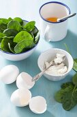 Ingredients for a spinach and goats cheese omelette