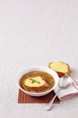 French onion soup with a Gruyere baguette