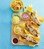 Hot dogs and various ingredients