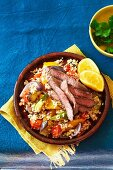 Stir-fried vegetables with quinoa and lamb