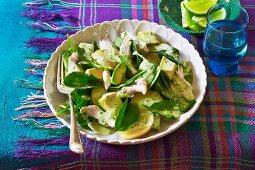 A chicken, potatoe and avocado salad