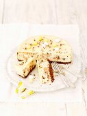 Stracciatella cheesecake with dark and white chocolate for Easter
