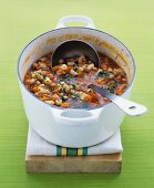 Bean soup with carrots and pasta