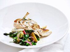 Chicken with a vegetable salad