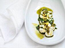 Mozzarella with basil pesto