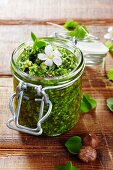 A jar of Alpine clover pesto