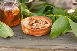 A pear tartlet with walnuts