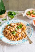 Barley risotto with pumpkin and prawns
