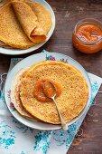 Pumpkin pancakes with pumpkin jam