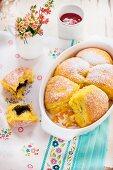 Pumpkin Buchteln (baked, sweet yeast dumpling) with poppy seeds