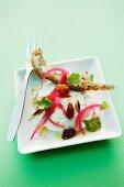 Buffalo mozzarella with baked anchovies