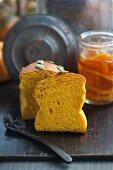Pumpkin bread and pumpkin and orange marmalade