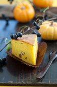 Pumpkin cake with aronia berries