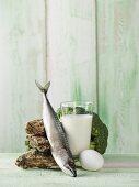 An arrangement featuring oysters, mackerel, milk, egg and broccoli