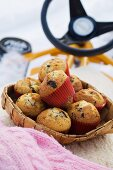 Chocolate muffins with peanuts