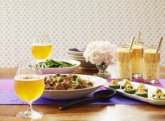 An Indian meal with lassis