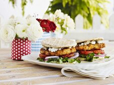 Fancy burgers with grilled unleavened bread