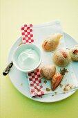 Baked tempura strawberries with woodruff cream