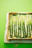 Asparagus tart with wild garlic