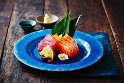 Salmon and tuna sashimi with wasabi and ginger