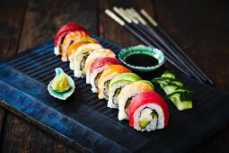 Sushi rolls with wasabi and soy sauce (Japan)