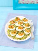 Eggs filled with salmon tartar