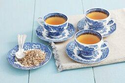 Spiny restharrow tea and dried tea leaves