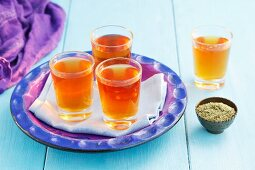 Alexandrian Senna tea and dried tea leaves
