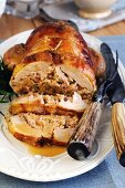 Roast guinea fowl breast stuffed with sausage meat and chestnuts
