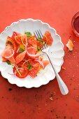 Tomato, grapefruit and watermelon salad