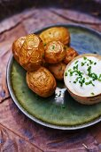 Grilled potatoes and chive quark