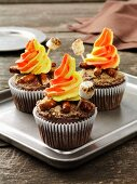 Chocolate cupcakes decorated for bonfire night
