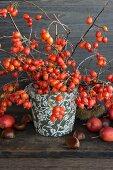 Sprigs of rosehips in a vase