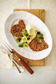 Venison escalope with celery purees and glazed Brussels sprouts