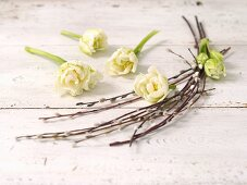 White tulips and catkins as Easter decorations